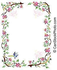 astratto, floreale, cornice