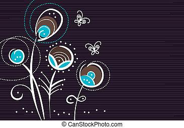 astratto, floreale, fondo, con, cartone animato, farfalle