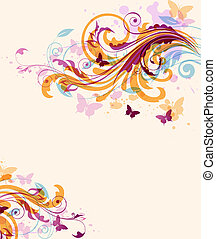 astratto, floreale, fondo, con, farfalle