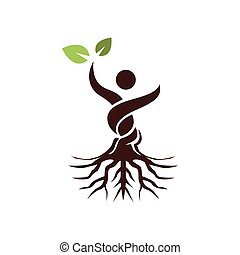 astratto, foglia, albero, uomo, verde, mano, aumento