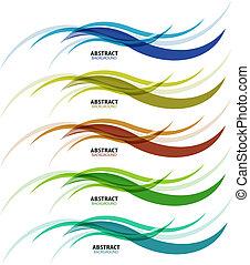 astratto, fondo, colorito, affari, onda, linea, set