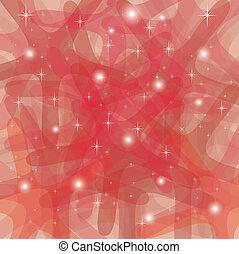 astratto, fondo, con, arrotondato, stelle, in, rosso