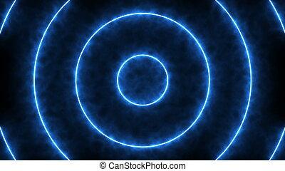 astratto, fondo, con, blu, neon, cerchi