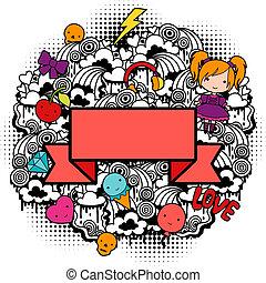 astratto, fondo, con, carino, kawaii, doodles.