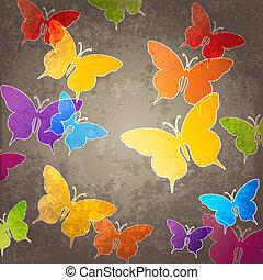astratto, fondo, con, farfalla
