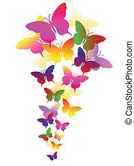 astratto, fondo, con, farfalle
