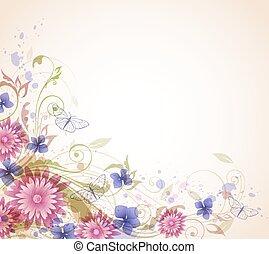 astratto, fondo, con, fiori