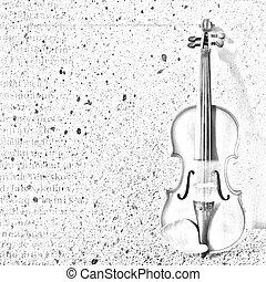 astratto, fondo, con, il, schizzo, di, un, vecchio, violino