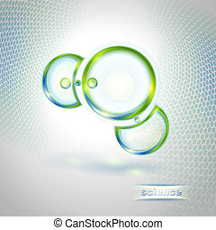 astratto, fondo, con, molecola