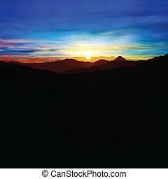 astratto, fondo, con, montagne, e, tramonto
