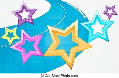 astratto, fondo, con, multicolore, stars.