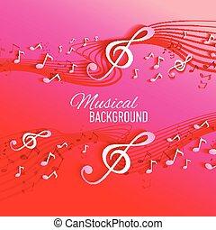 astratto, fondo, con, musica, chiave, e, note