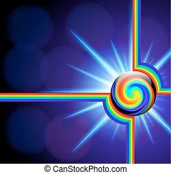 astratto, fondo, con, palla vetro, spettro, spirale