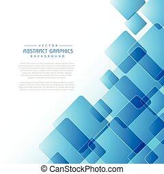 astratto, fondo, con, quadrato blu, forme