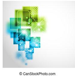 astratto, fondo, con, quadrato, forme