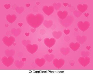 astratto, fondo, con, rosa, cuori