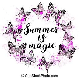 astratto, fondo, con, rosa, farfalle