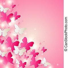 astratto, fondo, con, rosso bianco, farfalle
