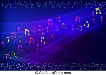 astratto, fondo, cornice, con, note musica