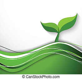 astratto, fondo, in, verde, colorare, con, pianta