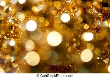 astratto, fondo, luci, bokeh, dorato