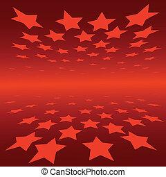 astratto, fondo, rosso, stelle