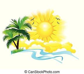 astratto, fondo, vacanza estate, creativo, artistico