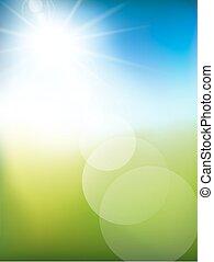 astratto, fondo, verde, luce, e, soleggiato, vector.