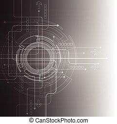 astratto, fondo., vettore, tecnologia, style., futuristico