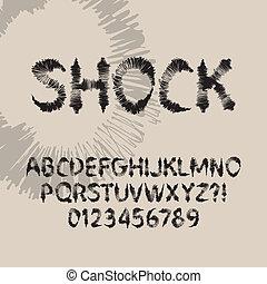 astratto, font, scossa