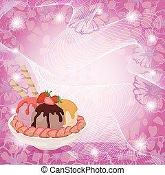 astratto, fragole, crema, fondo, ghiaccio
