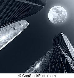 astratto, futuristico, cityscape, a, luna piena, night., hong kong