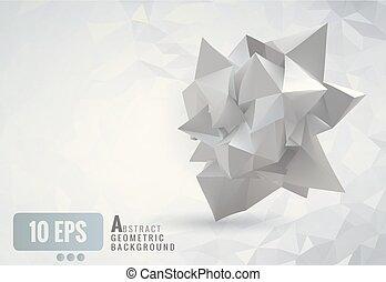 astratto, geometrico, carta spiegazzata, forma, bianco, polygonal, fondo