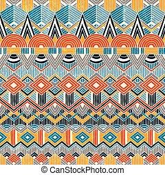 astratto, geometrico, etnico, seamless, fondo., pattern., mano, disegnato