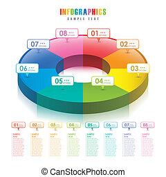 astratto, grafico, torta, vettore, infographics, 3d