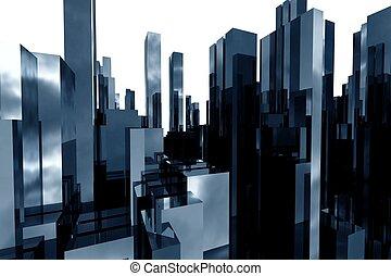 astratto, grattacieli, 3d
