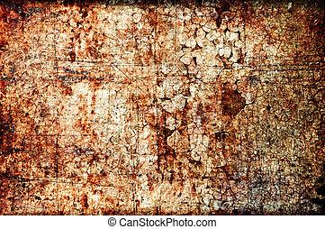astratto, grunge, texture:, rigature, sporcizia, ruggine, e, macchie, su, uno, parete