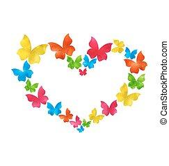 astratto, hand-drawn, acquarello, farfalle, per, giorno valentines, spazio copia, per, tuo, testo