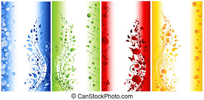 astratto, illustrazione, di, quattro stagioni, bandiere verticali