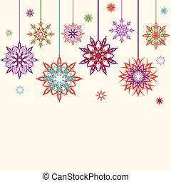 astratto, illustrazione, vettore, fondo, fiori, fiocchi neve