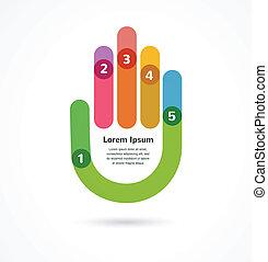astratto, infographic, fondo, mano