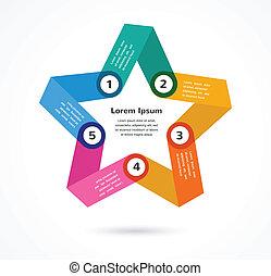 astratto, infographic, stella, fondo, colorito