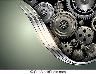 astratto, ingranaggi, fondo, metallico