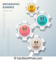 astratto, ingranaggio, diagramma flusso, infographics
