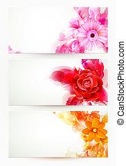 astratto, intestazioni, con, fiori