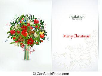 astratto, invito, albero, scheda, festivo