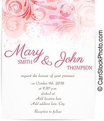 astratto, invito, sagoma, florals, matrimonio