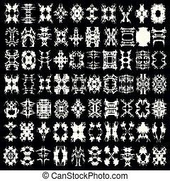 astratto, isolato, collezione, simboli, disegno, monocromatico, tuo