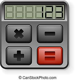 astratto, isolato, fondo., bianco, calcolatore, icona