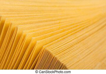 astratto, libro, pagine, giallo, vista